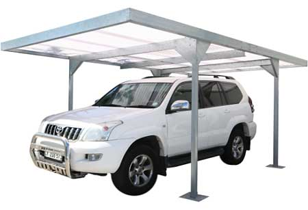 White SUV in Metal Carport